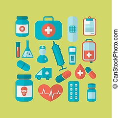 Collection trendy flat medical icons