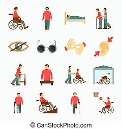 Disabled icons set flat - Disabled people care help...