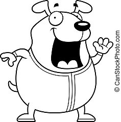 Cartoon Dog in Pajamas - A cartoon illustration of a dog in...