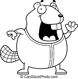 Cartoon Beaver in Pajamas - A cartoon illustration of a...