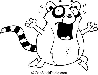Cartoon Lemur Panic - A cartoon lemur running in a panic