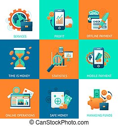 Bank icons set with services profit offline payments time is...