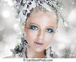 Snow fairy - Sparkling makeup fairy snow with icy flowers