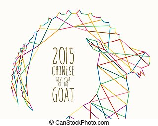 New Year of the Goat 2015 colorful line - Chinese New Year...