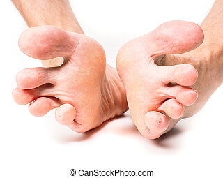Male person spreading toes towards white background