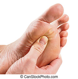 Male person receiving podiatry with pressure point technique...