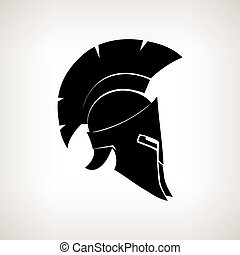 Silhouette helmet on a light background, vector illustration...