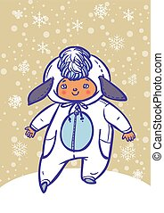 Funny vector cartoon colorfull child dressed as lamb - Funny...