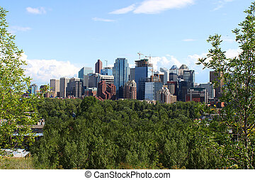 Calgary office buildings - Skyline view of highrise office...
