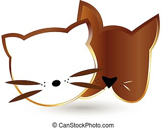 Cat and dog heads silhouettes in gold design vector icon
