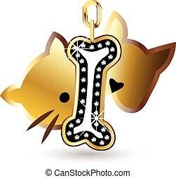 Cat dog and bone diamonds bling bling decoration vector icon...