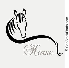 Stylized horse logo vector icon design template