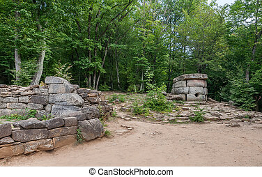 Archeological architecture and buildings in a russian forest