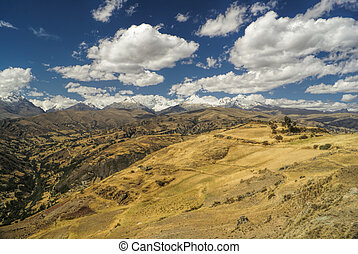 Cordillera Negra in Peru - Panoramic view of a sunlit valley...