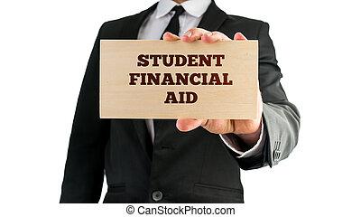 madeira, sinal, dizendo, estudante, financeiro, ajuda,