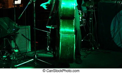 Man playing the contrabass, hand and bow detail close up