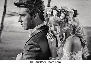 Black&white portrait of the couple - Black&white portrait of...