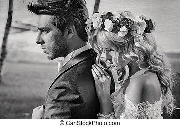 Black&white portrait of the couple - Black&white portrait of...