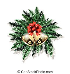 Pair of Christmas bells and fir tree branches isolated on...