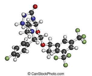 Aprepitant antiemetic drug molecule Atoms are represented as...