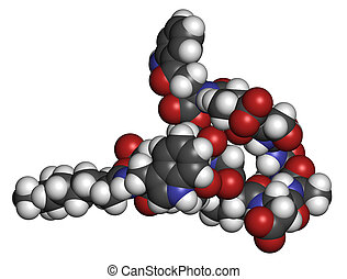 Daptomycin antibiotic drug molecule. Atoms are represented...