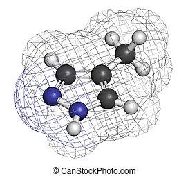 Fomepizole methanol poisoning antidote molecule. Atoms are repre