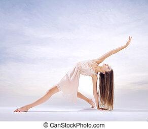 joven, bailarín, en, arte, ballet, figura,