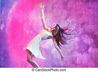 Smiling dancer on the dance floor - Smiling young dancer on...