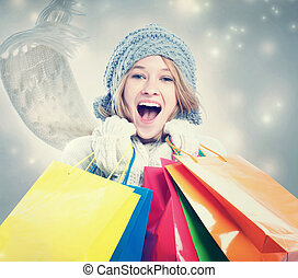 Happy Young Woman with Shopping Bag