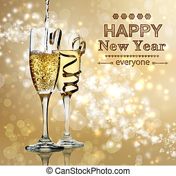 Happy New Year champagne celebration - Happy New Year text...