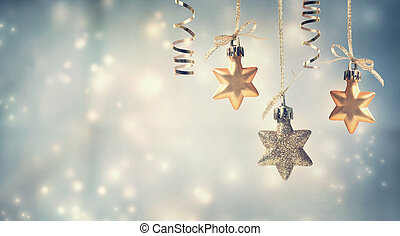 Christmas star ornaments - Christmas golden star ornaments...