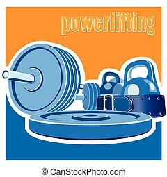 powerlifting - stylized illustration on the theme of strong...