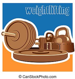 weightlifting - stylized illustration on the theme of strong...