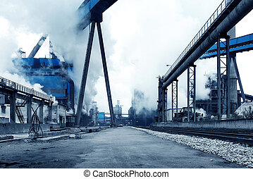 Steelworks - Iron and steel industry landscape, Shanghai,...
