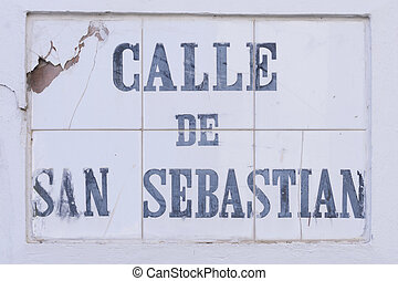 Calle de San Sebastian - The heavily weather beaten tile...