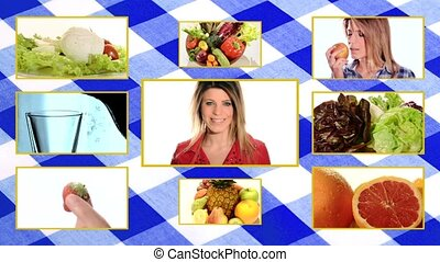 wellness foods composition with tablecloth