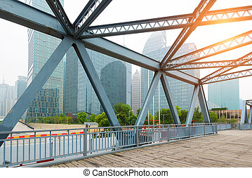 Shanghai's modern architecture and ancient steel bridges