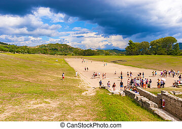 Ancient Olympic games stadium in Olympia, Greece - Olympia,...