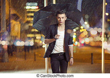 Art photo of the model walking in the rain - Art picture of...