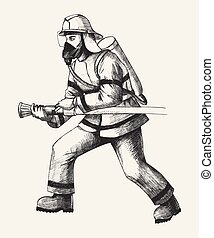Firefighter - Sketch illustration of a firefighter