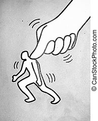 Under Pressure - Symbol of a big thumb pressing a small man...