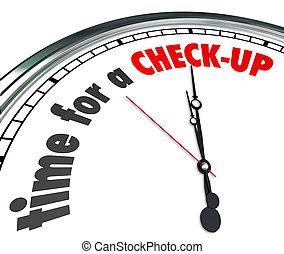 tiempo, para, Un, chequeo, palabras, reloj, físico,...