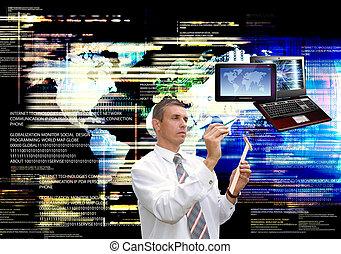 globalização, computador, tecnologia,