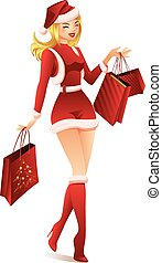 Woman Shopping for Christmas - Santa Girl with shopping bags...