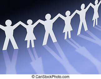 Teamwork people silhouette illustration, community -...