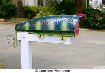 Fun artistic mail box with fish shape - Fun artistic mail...