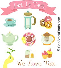 Tea Party Icons - Set of modern flat vector icons of tea...