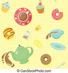 Tea Party Pattern - Bright colorful attractive seamless...
