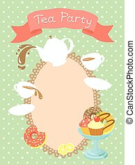 Tea Party Invitation - Colorful flat illustration of a tea...