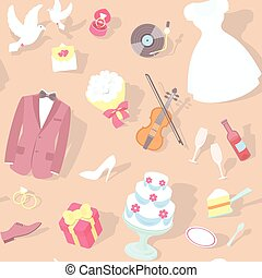Wedding Pattern - Modern flat seamless pattern with wedding...